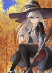 1girl autumn_leaves black_footwear black_headwear black_legwear black_neckwear black_robe blue_eyes boots broom broom_riding elaina_(majo_no_tabitabi) eyebrows_visible_through_hair hat highres kanaria_(kanari_as) leaf looking_at_viewer majo_no_tabitabi maple_leaf open_clothes open_robe red_skirt robe shirt silver_hair skirt solo thighs white_shirt witch witch_hat