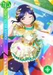 blue_hair blush character_name dress long_hair love_live!_school_idol_festival love_live!_sunshine!! matsuura_kanan smile sports violet_eyes wink