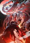 1girl bangs bow breasts burnt_clothes cigarette collared_shirt eyebrows_behind_hair feet_out_of_frame fire floating_hair from_below fujiwara_no_mokou full_moon hair_bow hand_in_pocket highres holding holding_cigarette index_finger_raised long_hair looking_at_viewer moon navel night night_sky ofuda_on_clothes open_mouth pants pointing red_eyes red_pants shirt short_sleeves sky small_breasts smoke smoking solo standing suspenders torn_clothes touhou under_boob upper_teeth uu_uu_zan very_long_hair white_hair white_shirt