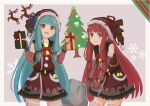 2girls bell blue_hair box christmas_tree commentary cowboy_shot dress fujidanuki fur-trimmed_headwear fur-trimmed_legwear fur-trimmed_sleeves fur_trim gift gift_box hat highres holding holding_gift holding_sack kotonoha_akane kotonoha_aoi leaning_forward long_hair looking_at_viewer multiple_girls open_mouth red_dress red_eyes red_headwear red_sleeves redhead reindeer sack santa_hat siblings sidelocks sisters smile snowflakes striped_sleeves thigh-highs very_long_hair voiceroid
