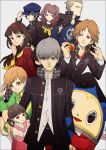 4boys 5girls amagi_yukiko black_hair blonde_hair blue_eyes blue_hair brown_eyes brown_hair cabbie_hat doujima_nanako green_jacket grey_hair hanamura_yousuke hat headphones headphones_around_neck highres jacket kujikawa_rise kuma_(persona_4) multiple_boys multiple_girls narukami_yuu persona persona_4 satonaka_chie school_uniform shirogane_naoto smile tatsumi_kanji tonkatsu_(kyarakong) twintails yasogami_school_uniform