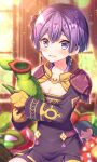 1girl armor bangs bernadetta_von_varley black_dress blurry blurry_background blush brown_gloves character_doll collarbone commentary_request depth_of_field dress earrings eyebrows_visible_through_hair fire_emblem fire_emblem:_three_houses gloves hair_between_eyes highres holding jewelry long_sleeves looking_at_viewer parted_lips pauldrons purple_hair sakura_tsubame short_hair shoulder_armor sitting smile solo violet_eyes window