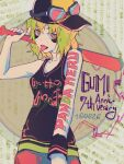 1girl anniversary arm_tattoo bags_under_eyes bare_shoulders baseball_bat baseball_cap goggles goggles_on_headwear green_hair gumi hat holding holding_baseball_bat moa_(fade64222) panda_hero_(vocaloid) pink_eyes shirt sideways_hat sketch sleeveless sleeveless_shirt song_name tattoo tongue tongue_out vocaloid