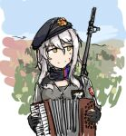 1girl accordion beret black_scarf breasts dutchko girls_frontline gloves grey_hair hat instrument long_hair partially_fingerless_gloves rifle_on_back scarf serbia_strong yellow_eyes zas_m76_(girls_frontline)
