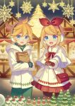 1boy 1girl absurdres bag bangs blonde_hair blue_eyes bow bowtie braid capelet choke_(amamarin) christmas christmas_tree coat commentary cowboy_shot earmuffs fur-trimmed_coat fur_trim gloves green_gloves green_pants hair_bow hair_ornament hairclip handbag heart highres holding holding_bag hooded_coat kagamine_len kagamine_rin night open_mouth pants paper_bag pointing red_bow red_gloves red_neckwear red_skirt short_hair short_ponytail skirt smile snow_globe snowflake_ornament snowman spiky_hair standing star_(symbol) swept_bangs toy vocaloid white_capelet white_coat