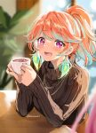 1girl alternate_hairstyle aqua_hair blush casual coffee commentary cup curcumin earrings feather_earrings feathers highres holding holding_cup hololive hololive_english indoors jewelry looking_at_another multicolored_hair open_mouth orange_hair pink_hair plant ponytail smile sweater takanashi_kiara turtleneck turtleneck_sweater twitter_username two-tone_hair upper_body violet_eyes virtual_youtuber