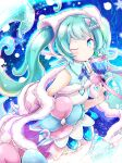 1girl akino_coto aqua_eyes aqua_hair bare_shoulders bell bow commentary dress dress_bow fur-trimmed_dress fur-trimmed_headwear fur-trimmed_sleeves fur_trim hair_ornament hatsune_miku headphones holding holding_bell long_hair looking_at_viewer magical_mirai_(vocaloid) one_eye_closed twintails upper_body very_long_hair vocaloid