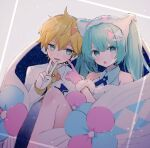 1boy 1girl aqua_eyes aqua_hair bare_shoulders blonde_hair blue_legwear commentary dress ebi_(yzpiyo039) formal fur-trimmed_dress fur-trimmed_gloves fur-trimmed_headwear fur_trim gloves hair_ornament hatsune_miku headphones headset index_finger_raised kagamine_len long_hair looking_at_viewer magical_mirai_(vocaloid) open_mouth single_thighhigh sitting smile spiky_hair suit thigh-highs twintails v vocaloid white_suit