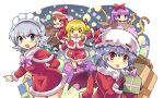 5girls arm_up bag bangs bat_wings blonde_hair blue_eyes blunt_bangs boots bow braid colonel_aki commentary_request flandre_scarlet fur_trim gift gloves hair_between_eyes hair_bow hand_up hat hat_ribbon highres hong_meiling izayoi_sakuya maid_headdress mob_cap multiple_girls one_eye_closed open_mouth patchouli_knowledge pom_pom_(clothes) red_eyes redhead remilia_scarlet ribbon santa_costume santa_hat shawl silver_hair skirt smile touhou twin_braids wings