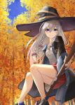 1girl autumn_leaves black_footwear black_headwear black_neckwear black_robe blue_eyes boots broom broom_riding elaina_(majo_no_tabitabi) eyebrows_visible_through_hair hat kanaria_(kanari_as) leaf looking_at_viewer majo_no_tabitabi maple_leaf open_clothes open_robe red_skirt robe shirt silver_hair skirt solo thighs white_shirt witch witch_hat