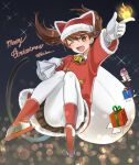 1girl animal_ears blurry brown_eyes brown_hair brown_skirt cat_ears cat_tail coat commentary_request depth_of_field fire foreshortening full_body fur-trimmed_coat fur-trimmed_headwear fur_trim gift gloves highres kantai_collection long_hair looking_at_viewer merry_christmas night night_sky official_alternate_costume one_eye_closed pantyhose pleated_skirt red_headwear ryuujou_(kantai_collection) sack shikigami skirt sky solo sparkle tail tsukimura_(d24f4z8j3t) twintails white_gloves white_legwear