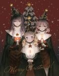 3girls blonde_hair blush candle candlelight candlestand christmas christmas_ornaments christmas_tree cloak earrings english_text faris_scherwiz final_fantasy final_fantasy_v gloves hair_between_eyes jewelry krile_mayer_baldesion lenna_charlotte_tycoon looking_at_viewer moon_(ornament) multiple_girls pink_hair pointy_hat purple_hair red_background robe siblings sisters snow snowing star_(symbol) takatora time_mage