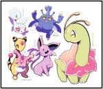 :3 :d ^_^ ampharos artsy-rc black_border border closed_eyes commentary corsola english_commentary espeon gen_2_pokemon heracross highres looking_at_viewer meganium no_humans open_mouth pokemon pokemon_(creature) pokemon_(game) pokemon_hgss simple_background smile togetic white_background