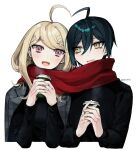 1boy 1girl ahoge akamatsu_kaede artist_name bangs black_hair blonde_hair commentary_request couple cup dalrye_v3 danganronpa_(series) danganronpa_v3:_killing_harmony hair_between_eyes hair_ornament holding holding_cup jacket long_hair long_sleeves musical_note musical_note_hair_ornament open_mouth red_scarf saihara_shuuichi scarf shared_scarf short_hair smile