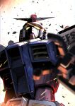 blurry_foreground from_below glowing glowing_eyes gundam highres kuri_giepi looking_up mecha mobile_suit_gundam no_humans open_hand rx-78-2 science_fiction solo v-fin yellow_eyes