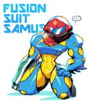 ... 1girl arm_cannon blue_bodysuit bodysuit character_name covered_face facing_viewer fusion_suit halftone hand_on_hip helmet highres metroid_fusion multicolored multicolored_bodysuit multicolored_clothes power_armor rariatto_(ganguri) samus_aran solo spoken_ellipsis weapon yellow_bodysuit