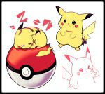 >_o :3 artsy-rc black_border border commentary curled_up gen_1_pokemon highres looking_at_viewer no_humans one_eye_closed original pikachu poke_ball pokemon_(creature) signature simple_background sleeping smile white_background zzz