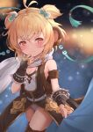 1girl alternate_costume andira_(granblue_fantasy) animal_ears black_gloves blonde_hair breasts closed_mouth cowboy_shot erune gloves granblue_fantasy highres kimblee leotard light_smile looking_at_viewer monkey_ears monkey_tail red_eyes scarf short_hair small_breasts snow solo tail thigh-highs two_side_up white_leotard white_scarf
