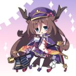 1girl antlers axe bangs blue_eyes blush breasts brown_hair cape character_request chestnut_mouth commentary_request eyebrows_visible_through_hair hair_between_eyes hat high-waist_skirt highres holding holding_axe holding_weapon leaf_print long_hair long_sleeves looking_at_viewer medium_breasts milkpanda mist_train_girls open_mouth peaked_cap pleated_skirt print_sleeves purple_cape purple_headwear purple_skirt shide short_eyebrows skirt sleeves_past_wrists solo sparkle thick_eyebrows very_long_hair weapon wide_sleeves