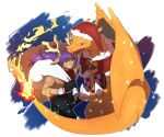 1boy alternate_costume bangs black_gloves black_pants box brown_coat charizard christmas coat commentary_request dark_skin dark_skinned_male dynamax_band facial_hair fire flame gen_1_pokemon gift gift_box gloves hat hatted_pokemon highres holding holding_sack leon_(pokemon) long_hair male_focus morio_(poke_orio) one_eye_closed pants pokemon pokemon_(creature) pokemon_(game) pokemon_swsh purple_hair sack santa_hat smile yellow_eyes