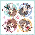 2020 4girls :d ahoge animal_ear_fluff animal_ears artist_name black_hair black_skirt blue_eyes boots brown_eyes brown_hair brown_skirt cat_ears cat_tail chibi club_(shape) detached_sleeves diamond_(shape) double_bun eyebrows_visible_through_hair flipped_hair frilled_skirt frills full_body glasses green-framed_eyewear green_skirt grey_hair hair_ornament hairclip hakama_skirt haruna_(kantai_collection) headgear heart hiei_(kantai_collection) highres kantai_collection kirishima_(kantai_collection) kongou_(kantai_collection) long_hair looking_at_viewer multiple_girls nontraditional_miko open_mouth outstretched_arm plaid red_skirt ribbon-trimmed_sleeves ribbon_trim shigunyan short_hair skirt smile spade_(shape) tail thigh-highs thigh_boots violet_eyes