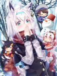4girls :3 ahoge animal_ear_fluff animal_ears bangs bare_tree bell beret black_coat black_hair blue_coat blue_gloves braid brown_hair capelet chibi closed_eyes coat commentary_request covering_mouth earrings eyebrows_visible_through_hair fams_(group) fox_ears fox_girl fox_tail gezerun gloves gradient_hair green_eyes grey_gloves hair_bell hair_between_eyes hair_ornament hairband hairclip hands_together hat highres hololive horns jewelry long_hair long_sleeves looking_at_viewer multicolored_hair multiple_girls nakiri_ayame one_eye_closed oni_horns ookami_mio oozora_subaru outdoors pentagram pink_eyes pink_gloves ponytail red_coat redhead scarf shirakami_fubuki short_hair sidelocks single_braid skirt snow snow_bunny snowball snowman swept_bangs tail tree two-tone_hair virtual_youtuber white_hair white_skirt wolf_ears wolf_girl yellow_eyes