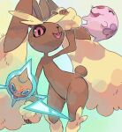 :d blue_eyes closed_eyes commentary creature english_commentary eyelashes feet_out_of_frame gen_4_pokemon gen_5_pokemon lopunny munna no_humans open_mouth pink_eyes pinkgermy pokemon pokemon_(creature) rabbit rotom rotom_(normal) simple_background smile standing white_background