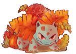 claws commentary creature english_commentary fangs full_body gen_1_pokemon highres ivysaur looking_at_viewer no_humans plumepox pokemon pokemon_(creature) pumpkin solo standing transparent_background