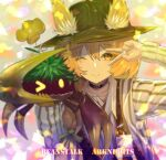 >_o 1girl ;) arknights arm_up bangs beanstalk_(arknights) bielin black_choker black_headwear blonde_hair blush brown_eyes character_name choker closed_mouth copyright_name crab ears_through_headwear eyebrows_visible_through_hair fedora flower hat highres id_card long_sleeves looking_at_viewer one_eye_closed shirt short_hair smile solo striped striped_shirt upper_body v v_over_eye vertical-striped_shirt vertical_stripes white_shirt yellow_flower