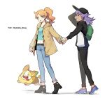 1boy 1girl absurdres baseball_cap belt black_belt black_footwear blue_footwear blue_pants brown_coat buttons coat commentary_request dark_skin dark_skinned_male gen_8_pokemon green_eyes green_shirt hat highres holding_hands leon_(pokemon) long_hair long_sleeves navel orange_hair pants pokefan_cheng pokemon pokemon_(creature) pokemon_(game) pokemon_swsh purple_hair ribbed_shirt shirt shoes smile sonia_(pokemon) teeth tied_hair twitter_username yamper younger