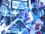 acoustic_guitar aqua_eyes aqua_hair audience billboard blue_legwear blue_scarf blue_theme bottle box carrot character_name christmas_tree city coat commentary edoya_inuhachi flag gift gift_box guitar hat hatsune_miku highres holding holding_bottle instrument keyboard_(instrument) long_hair looking_at_viewer microphone microphone_stand music_stand night pleated_skirt pocari_sweat product_placement santa_claus scarf scenery skirt smile snowman speaker spotlight sunglasses top_hat twintails urban very_long_hair vocaloid white_coat white_skirt winter