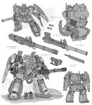 2boys absurdres armor character_sheet dual_wielding english_commentary english_text from_behind full_armor gatling_gun greyscale gun highres holding holding_gun holding_shield holding_weapon knife mecha military missile_pod monochrome multiple_boys original rocket_launcher science_fiction shield squatting weapon white_background zen_(jirakun)