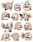 ? arm_up bird bluekomadori blush brown_eyes closed_eyes closed_mouth commentary english_commentary gen_7_pokemon half-closed_eyes head_tilt highres looking_at_viewer no_humans one_eye_closed open_mouth owl pokemon pokemon_(creature) rowlet spoken_question_mark sweat talons tearing_up tongue