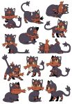 :o bluekomadori brown_eyes closed_eyes closed_mouth commentary english_commentary fang gen_7_pokemon highres litten looking_up mouth_hold no_humans one_eye_closed open_mouth paws pokemon pokemon_(creature) sitting smile stretch togedemaru tongue yellow_sclera