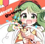 1girl absurdres aiming_at_viewer bare_shoulders confetti goggles goggles_on_head green_eyes green_hair gumi happy_birthday highres looking_at_viewer medium_hair open_mouth orange_shirt pachio_(patioglass) party_popper red_goggles shirt sleeveless sleeveless_shirt smile solo streamers upper_body vocaloid wrist_cuffs
