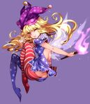 1girl ;p american_flag_dress american_flag_legwear back_cutout blonde_hair butt_crack clothing_cutout clownpiece dress eyelashes fairy_wings fire floating_hair full_body hat highres jester_cap long_hair looking_at_viewer neck_ruff one_eye_closed pantyhose pink_eyes polka_dot purple_background purple_headwear raptor7 short_dress short_sleeves simple_background smile solo star_(symbol) striped tongue tongue_out torch touhou transparent_wings v wings
