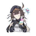 ahoge arknights armband beret black_gloves black_headwear blush brain_freeze broken_heart brown_hair cape cropped_torso deel_(rkeg) eyebrows_visible_through_hair food gloves happy hat highres holding holding_food holding_spoon ice_cream_cone jacket plume_(arknights) shaded_face short_hair smile spoon symbol_commentary upper_body white_jacket