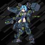 1girl arm_cannon armored_core bangs blue_hair breasts clenched_hand covered_navel dated eyebrows_visible_through_hair gun highres holding holding_gun holding_weapon mecha_musume mecha_request michi_kuso missile_pod personification sailor_collar shoulder_cannon skin_tight small_breasts smile solo weapon