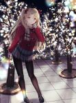 1girl absurdres alternate_costume bangs black_headwear black_legwear blonde_hair bow casual christmas_lights coat commentary_request duffel_coat ereshkigal_(fate/grand_order) eyebrows_visible_through_hair fate/grand_order fate_(series) hair_bow highres huge_filesize long_hair long_sleeves looking_at_viewer miniskirt night outdoors pantyhose parted_bangs parted_lips red_bow red_coat red_eyes scarf skirt smile solo teeth tiara tree two_side_up yua_(bokubo0806)