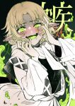 1girl ahegao bangs blonde_hair blush cowboy_shot crazy drooling eyebrows_visible_through_hair fangs fingernails full-face_blush green_eyes green_nails hands_on_own_face hands_up heart heart-shaped_pupils highres jacket layered_clothing light_brown_hair long_sleeves mizuhashi_parsee open_mouth parted_bangs pointy_ears sakuratsuki saliva scarf shaded_face sharp_fingernails short_hair skin_fangs solo spot_color symbol-shaped_pupils touhou uneven_eyes white_scarf wide_sleeves yandere