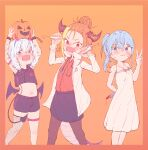 3girls alternate_costume alternate_hairstyle amane_kanata angel arms_up asacoco bangs bare_shoulders black_skirt blonde_hair blood blood_on_face bloody_knife bloody_weapon blue_hair blush chain child collarbone colored_inner_hair crazy cuffs demon_costume demon_tail demon_wings dragon_girl dragon_horns dragon_tail dress fake_horns fang fishnet_legwear fishnets ginzuchi hair_between_eyes hair_bun halloween halloween_costume highlights highres hololive horns hoshimachi_suisei jack-o'-lantern kiryuu_coco knife labcoat looking_at_viewer medium_hair midriff multicolored_hair multiple_girls open_mouth orange_background orange_hair pantyhose red_shirt scales shirt side_ponytail silver_hair simple_background single_strap skin_fang skirt smile stethoscope stomach streaked_hair syringe tail tied_hair v virtual_youtuber weapon white_dress wings