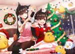 2girls :d animal_ear_fluff animal_ears apron atago_(azur_lane) azur_lane beige_sweater bird box brown_hair christmas_tree dress eagle fur_trim gift gift_box hair_ribbon indoors kagiyama_(clave) long_hair manjuu_(azur_lane) mother_and_daughter multiple_girls on_bed open_mouth pink_apron red_dress ribbon short_dress smile stuffed_animal stuffed_toy thigh-highs white_legwear white_ribbon yellow_eyes
