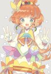 1girl :d bangs blue_eyes bow brown_hair choker cure_papaya double_w dress earrings fingerless_gloves gloves green_eyes grey_background hair_bow heart heart_in_eye highres ichinose_minori jewelry long_hair looking_at_viewer magical_girl nikorashi-ka open_mouth precure round_teeth simple_background sleeveless smile solo symbol_in_eye teeth tropical-rouge!_precure w white_gloves yellow_dress