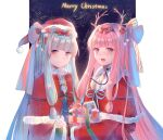 2girls bangs blue_hair blunt_bangs box capelet christmas commentary dress fur-trimmed_capelet fur-trimmed_headwear fur-trimmed_sleeves fur_trim gift gift_box hair_ribbon hairband hat highres holding holding_gift kotonoha_akane kotonoha_aoi long_hair looking_at_viewer merry_christmas multiple_girls night night_sky open_mouth pillarboxed pink_eyes pink_hair red_capelet red_dress red_headwear red_ribbon ribbon santa_costume santa_dress santa_hat siblings sisters sky smile ten_(cherry61897) upper_body very_long_hair voiceroid