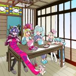 6+girls :d aqua_hair aqua_nails aqua_sweater belt_collar biburi_(precure) blonde_hair blue_eyes blue_hair blue_kimono blush_stickers bow_hairband bowl bright_pupils cardigan chair character_request choker closed_eyes collar collarbone commentary_request dress english_text eyebrows_visible_through_hair facepaint fingernails fur-trimmed_footwear grey_footwear hair_between_eyes hairband headdress heart holding horns indoors japanese_clothes kimono kirakira_precure_a_la_mode knees_together_feet_apart knitting knitting_needle lamp lampshade leaning_forward long_fingernails long_hair looking_at_another monster_rally multiple_girls nail_polish needle off-shoulder_sweater off_shoulder open_mouth outstretched_arm overalls pekorin_(precure) pink_hair precure purple_collar purple_dress purple_hair purple_sweater red_choker red_footwear red_hairband sewing_machine shirt short_hair sidelocks sitting sliding_doors slippers smile socks stained_glass striped striped_kimono sweater sweater_dress table thigh-highs tiptoes white_pupils white_shirt wings wooden_floor yarn yarn_ball