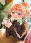 1girl absurdres alternate_hairstyle aqua_hair blush casual coffee commentary commentary_request cup curcumin earrings feather_earrings feathers highres holding holding_cup hololive hololive_english indoors jewelry looking_at_another multicolored_hair open_mouth orange_hair pink_hair plant ponytail smile sweater takanashi_kiara turtleneck turtleneck_sweater twitter_username two-tone_hair upper_body violet_eyes virtual_youtuber