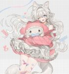 :3 ;d animal_ear_fluff animal_ears bandaid bandaid_on_knee bandaid_on_leg bangs bare_shoulders blue_bow blue_eyes bow dress eyebrows_visible_through_hair grey_background grey_hair hair_between_eyes hair_bow hairband heart hug jacket layered_dress long_hair looking_at_viewer lunch_(lunchicken) my_melody off_shoulder one_eye_closed onegai_my_melody open_clothes open_jacket open_mouth original pink_jacket pleated_dress sleeveless sleeveless_dress smile tail very_long_hair white_bow white_dress white_hairband