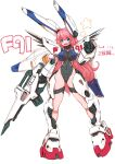 1girl absurdres bangs breasts clenched_hand covered_navel dated eyebrows_visible_through_hair f91_gundam gun gundam gundam_f91 highres holding holding_gun holding_weapon large_breasts leotard long_hair mecha_musume michi_kuso open_mouth personification pink_hair skin_tight smile solo standing star_(symbol) very_long_hair weapon white_background wide_hips