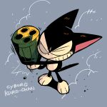 cat commentary copyright_name cyborg_kuro-chan full_body gun highres holding holding_gun holding_weapon kuro_(cyborg_kuro-chan) looking_at_viewer machine_gun no_humans one_eye_closed rariatto_(ganguri) sanpaku weapon