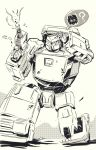 ? decepticon greyscale gun hand_on_head holding holding_gun holding_weapon insignia kneeling looking_to_the_side marble-v mecha monochrome no_humans one_knee runabout runamuck science_fiction sketch solo speech_bubble spoken_question_mark transformers weapon